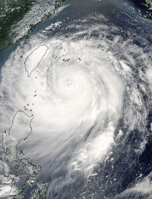 Hurricane Emily captured by MODIS on the Terra satellite on July 17, 2005.