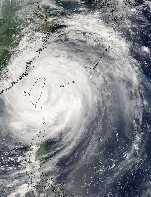 Image of Super Typhoon Haitang as seen by the MODIS instrument on the Terra satellite on July 18, 2005.