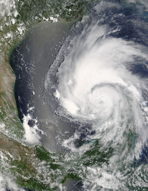 Image of Hurricane Emily as seen by MODIS on the Terra satellite on July 18, 2005.