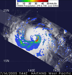 Image of Typhoon Haitang as seen by the TRMM satellite on July 14, 2005.