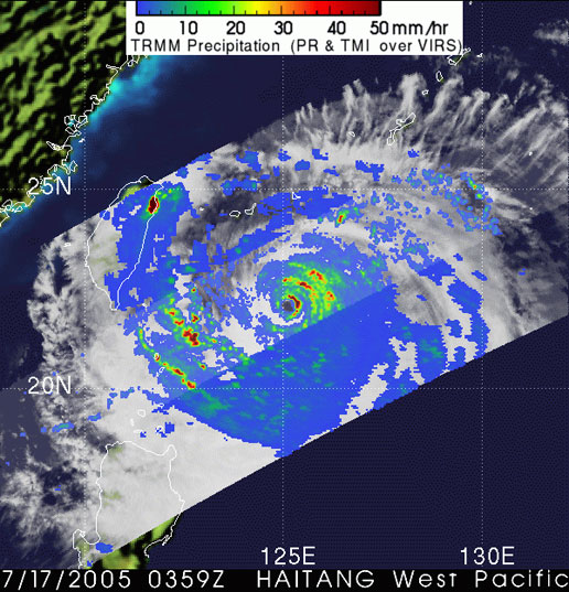 Image of Typhoon Haitang as seen by the TRMM satellite on July 17, 2005.