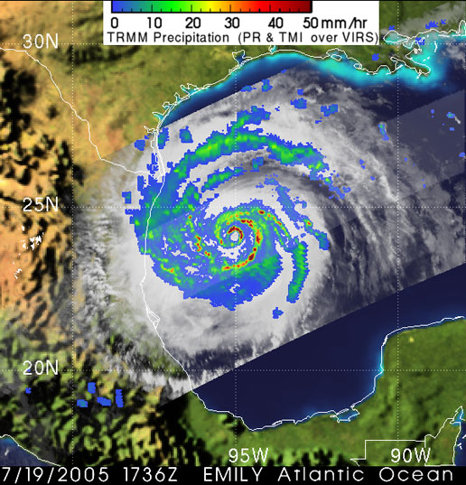 Image of Hurricane Emily captured by TRMM on July 19, 2005.