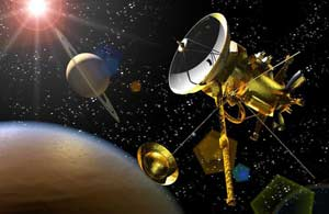Artist concept depicting the Huygens probe departing the Cassini spacecraft near Titan