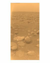 Titan's surface as seen from the Huygens probe landing spot