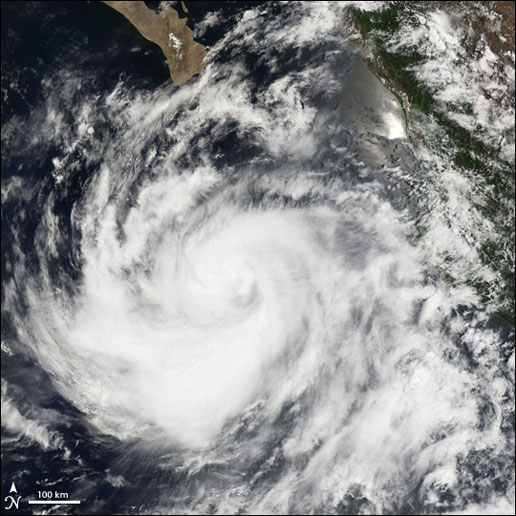 Image of the Pacific tropical storm, Eugene, which was captured by the MODIS instrument on the Aqua satellite on July 19, 2005.
