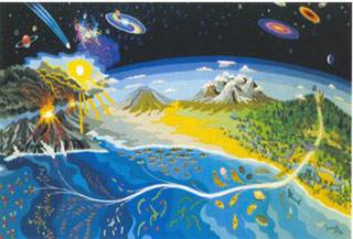 Cosmic evolution is depicted in this image from the exobiology program at NASA Ames Research Center, 1986.  Cosmic evolution begins (upper left) with the formation of stars and planetary systems, proceeds (bottom) to primitive and complex life, and culminates with intelligence, technology and astronomers (upper right) contemplating the universe.