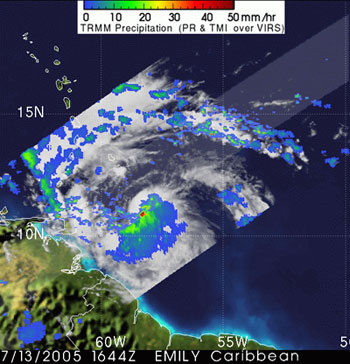 Hurricane Emily as seen by TRMM on July 13, 2005.