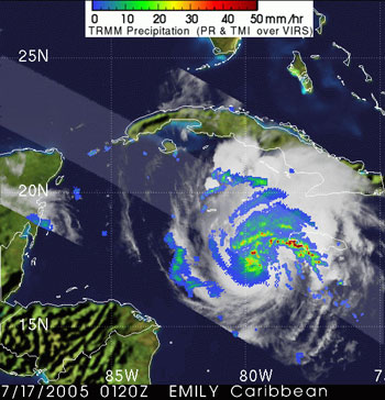 Hurricane Emily as seen by TRMM on July 17, 2005.