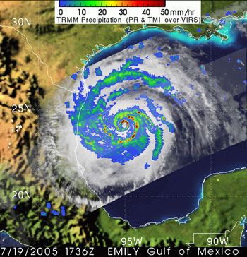 Hurricane Emily as seen by TRMM on July 19, 2005.