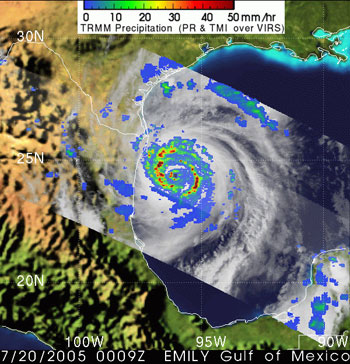 Hurricane Emily as seen by TRMM on July 20, 2005.