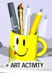 Pens, pencils and a paintbrush in a yellow coffee mug over the words Art Activity