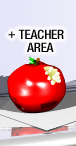Apple with a bite taken out of it under the words Teacher Area