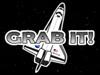 A cartoon image of the space shuttle floating behind the words Grab It