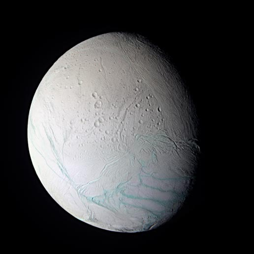 The surface of Saturn's moon Enceladus shows a range of crater ages, including regions that have very few discernable craters at Cassini's resolution.