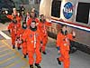 The STS-114 crews heads for the Astrovan