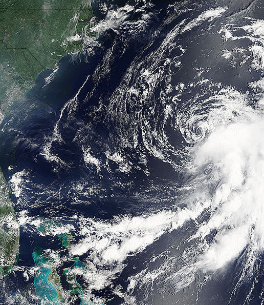 Image of Tropical Storm Franklin taken by MODIS on the Terra satellite on July 25, 2005.