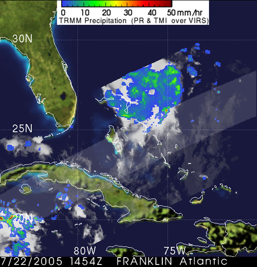 Tropical storm Franklin seen by the TRMM satellite on July 25, 2005.