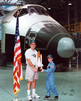 Otero and son at Space Camp