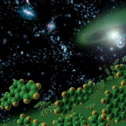 artist's concept representing complex organic molecules seen in early universe