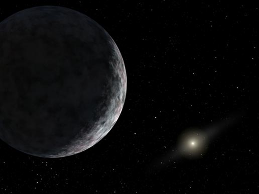 This artist's concept shows the planet catalogued as 2003UB313 at the lonely outer fringes of our solar system. Our Sun can be seen in the distance. The new planet, which is yet to be formally named, is at least as big as Pluto and about three times farther away from the Sun than Pluto. It is very cold and dark. The planet was discovered by the Samuel Oschin Telescope at the Palomar Observatory near San Diego, Calif., on Jan. 8, 2005. Image credit: NASA/JPL-Caltech