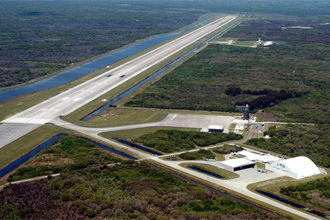 Aerial photo of the Shuttle Landing Facility at Kennedy Space Center