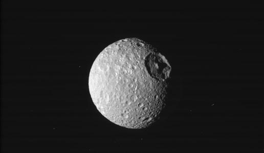 This image show the great eye of Saturn's moon Mimas.