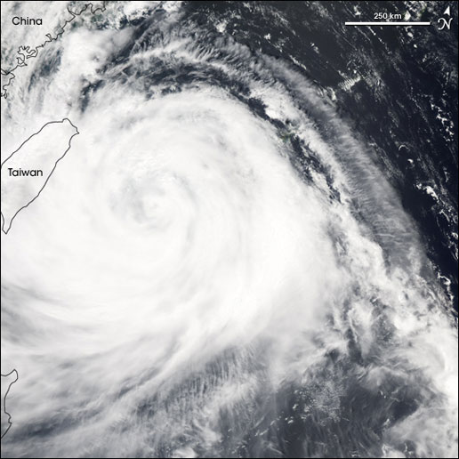 Image of Typhoon Matsa taken by the MODIS instrument on the Aqua satellite on August 4, 2005.