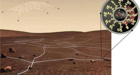 Artist's conception of a sprawling web of nanosensors over the terrain of an alien planet. The cross-section at the top-right shows biologically derived molecules (yellow and red) that would perform the sensing and signaling functions.