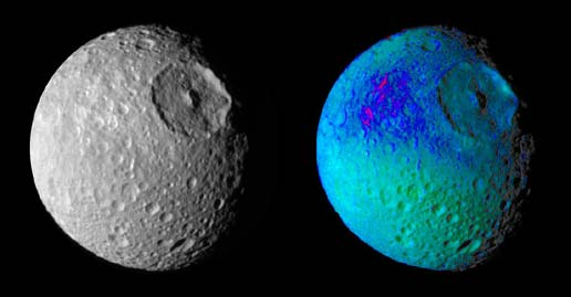 two views of Mimas, seen in false color