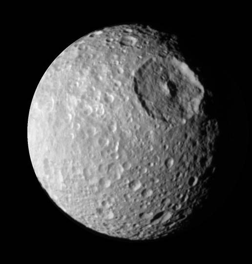 enhanced view of Mimas