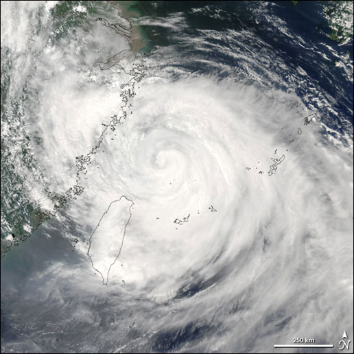 Image of Typhoon Matsa taken by the MODIS instrument on the Aqua satellite on August 5, 2005.