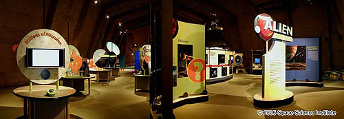 A view of the colorful exhibits at Alien Earth Exhibit
