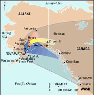 Volcanic ash from Mount Katmai, more than from all other historical eruptions in Alaska combined, devastated areas hundreds of miles away, as shown in this map.