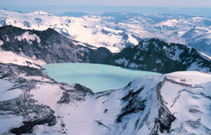 The caldera, or crater created by the collapse of Mount Katmai in 1912, now containing both a lake and a glacier, as seen in September 1980.