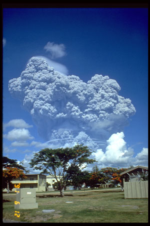 Mt. Pinatubo eruption as seen from Clark Air Force base.