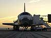 Space Shuttle Discovery at rest on the runway at Edwards Air Force Base