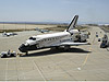 Discovery is towed from the runway at Edwards Air Force Base.