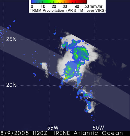 Image of Tropical Depression Irene from TRMM.