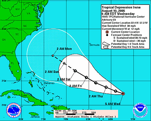 Map of Tropical Depression Irene's track from the National Hurricane Center.