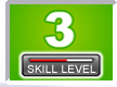 Picture of a number 3 with skill level bar indicator