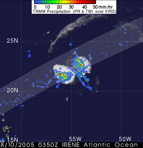 TRMM satellite image of Irene from August 10, 2005.