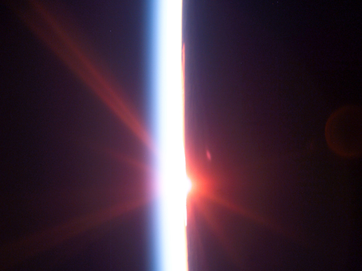Sunrise, as seen from Space Shuttle Discovery