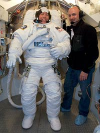 STS-121 Mission Specialist Mike Fossum, left and Pilot Mark Kelly