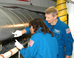STS-121 Mission Specialists Stephanie Wilson and Piers Sellers