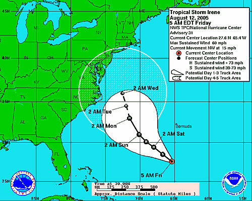 National Hurricane Center's predicted track for Tropical Storm Irene as of August 12, 2005.