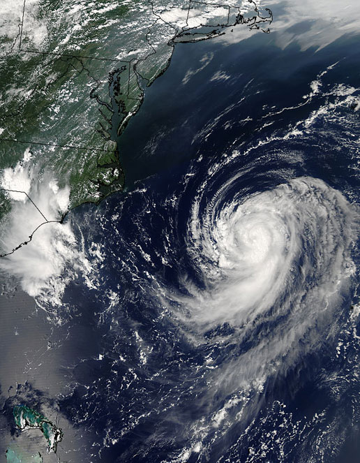 Image of Tropical Storm Irene as seen by the MODIS instrument on the Aqua satellite on August 14, 2005.
