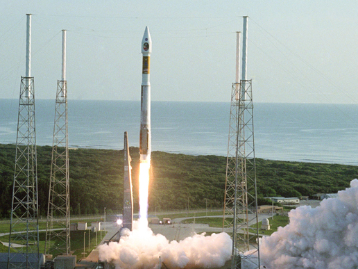 The Mars Reconnaissance Orbiter lifts off fromCape Canaveral Air Force Station at 7:43 a.m. EDT on Aug. 12, 2005.
