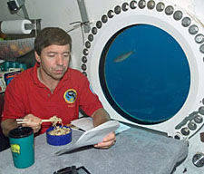 Astronaut eating dinner at table in front of underwater window