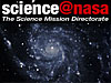 The words Science at NASA above an image of a galaxy