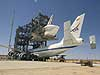Discovery is readied for mating to the 747 Shuttle Carrier Aircraft